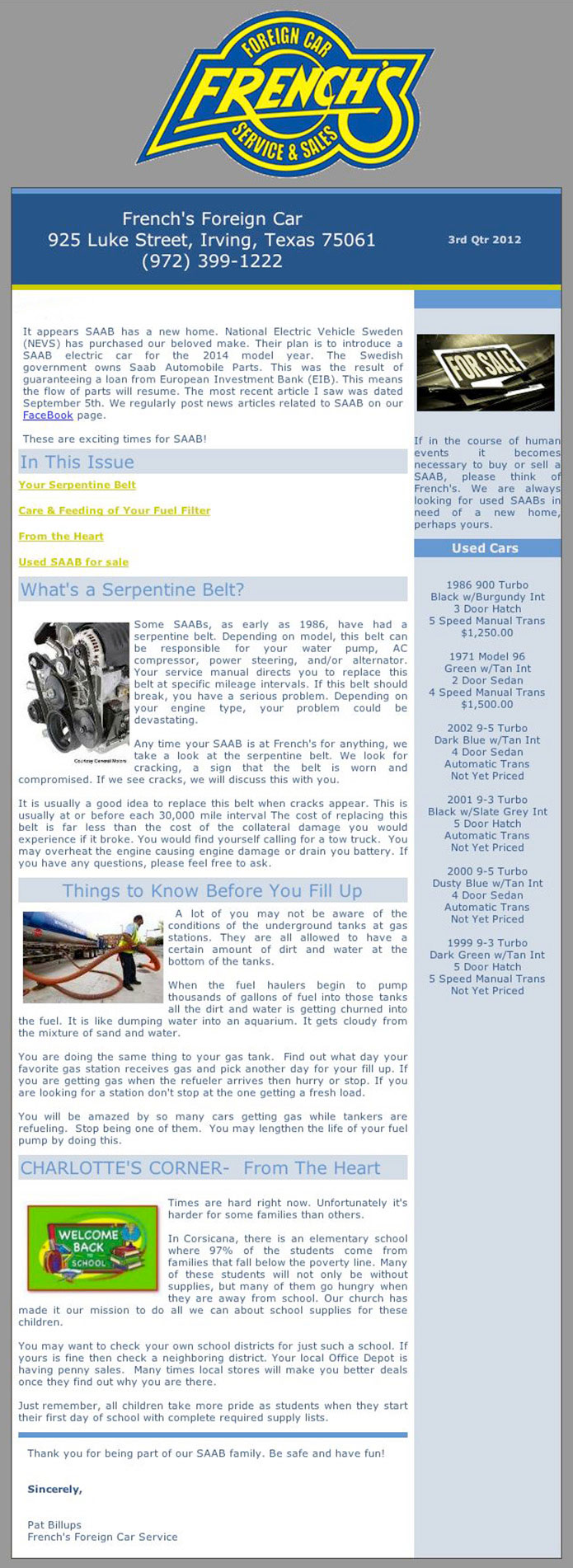 French's Foreign Car SAAB Service - Newsletter